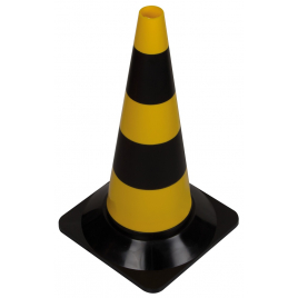 Cône de signalisation noir et jaune 50 cm PEREL