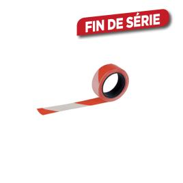 Ruban de signalisation rouge et blanc 5 cm x 100 m PEREL