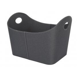 Panier aspect cuir noir pour pellet ou bûches PEREL