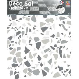 Sticker de sol Terrazzo gris 30 x 30 cm 2 pièces