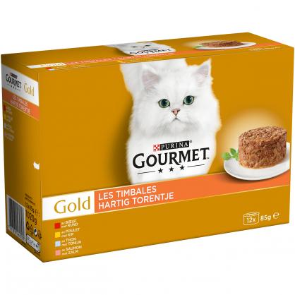 Pâtée pour chat Les Timbales de Viande Gourmet 12 pièces PURINA