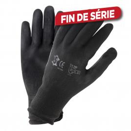 Paire de gants de travail en polyuréthane noir taille 10