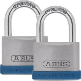 Cadenas à clé en zinc Silver Rock 50 mm 2 pièces ABUS