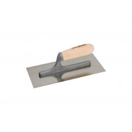 Plâtresse en acier inoxydable avec poignée en bois 27 x 13 cm