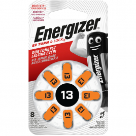 Pile bouton pour appareil auditif 250 mAh 8 pièces ENERGIZER