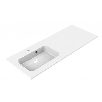 Plan de toilette Style 120 cm blanc brillant vasque décentrée ALLIBERT