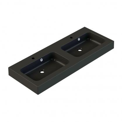 Plan de toilette Roke 120 cm noir mat double vasque ALLIBERT