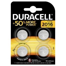 Pile bouton au lithium DL2016 4 pièces DURACELL