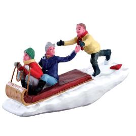 Figurine famille en luge LEMAX