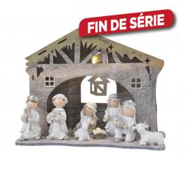 Crèche de Noël lumineuse avec 8 figurines DECORIS