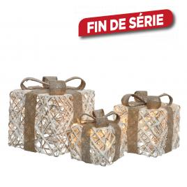 Boîte cadeau en rotin lumineux 3 pièces LUMINEO