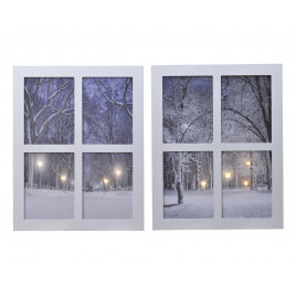 Tableau fenêtre avec paysage enneigé LED 48 cm LUMINEO