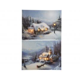Tableau paysage d'hiver LED 60 cm LUMINEO