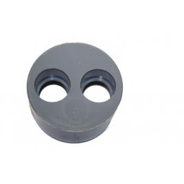 Tampon de réduction avec 2 trous ? 100 mm PVC gris
