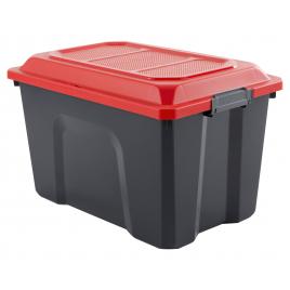 Malle de rangement Locker 60 L rouge et noir