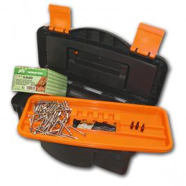 Boîte à outils avec assortiment de vis pour bois dur 600 pièces