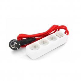 Multiprise 3 prises averc interrupteur et câble textile rouge 1,5 m CHACON