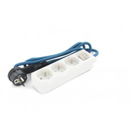 Multiprise 3 prises averc interrupteur et câble textile bleu 1,5 m CHACON