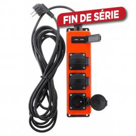 Multiprise extérieure 3 prises et 2 USB orange 3 m