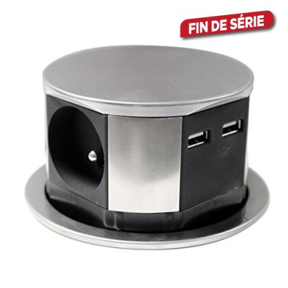 Bloc multiprise encastrable 3 prises et 2 USB 1,5 m