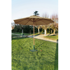 Parasol droit taupe avec mât en bois Ø 300 cm