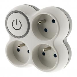 Domino 3 x 16 A avec interrupteur blanc et gris