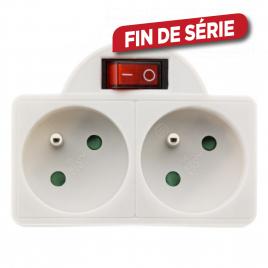 Domino 2 x 16 A avec interrupteur blanc