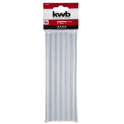 Bâton de colle transparente Ø 11 x 200 mm 6 pièces KWB
