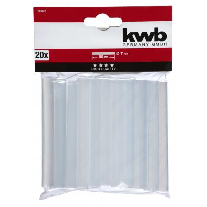 Bâton de colle transparente Ø 11 x 100 mm 20 pièces KWB