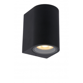 Applique extérieure ronde noire Zaro GU10 35 W dimmable LUCIDE