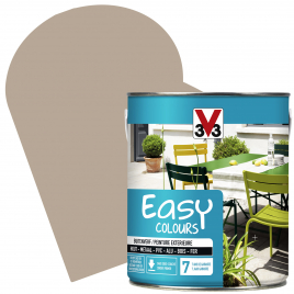Peinture extérieure Easy Colours pour bois métal PVC Beige satinée 2,5 L V33