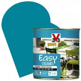 Peinture extérieure Easy Colours pour bois métal PVC Turquoise satinée 0,5 L V33