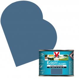 Peinture extérieure Easy Colours pour bois métal PVC Bleu Orage satinée 0,125 L V33