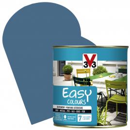 Peinture extérieure Easy Colours pour bois métal PVC Bleu Orage satinée 0,5 L V33