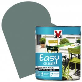 Peinture extérieure Easy Colours pour bois métal PVC Vert de Gris satinée 2,5 L V33