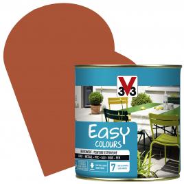 Peinture extérieure Easy Colours pour bois métal PVC Paprika satinée 0,5 L V33