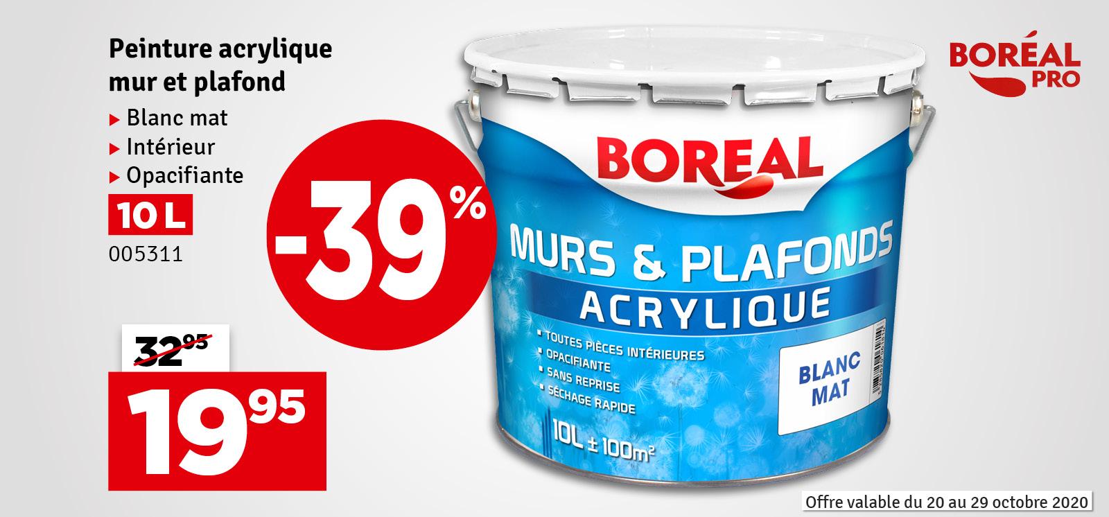 Promo - Peinture acrylique pour murs et plafonds blanc mat 10 L BOREAL PRO