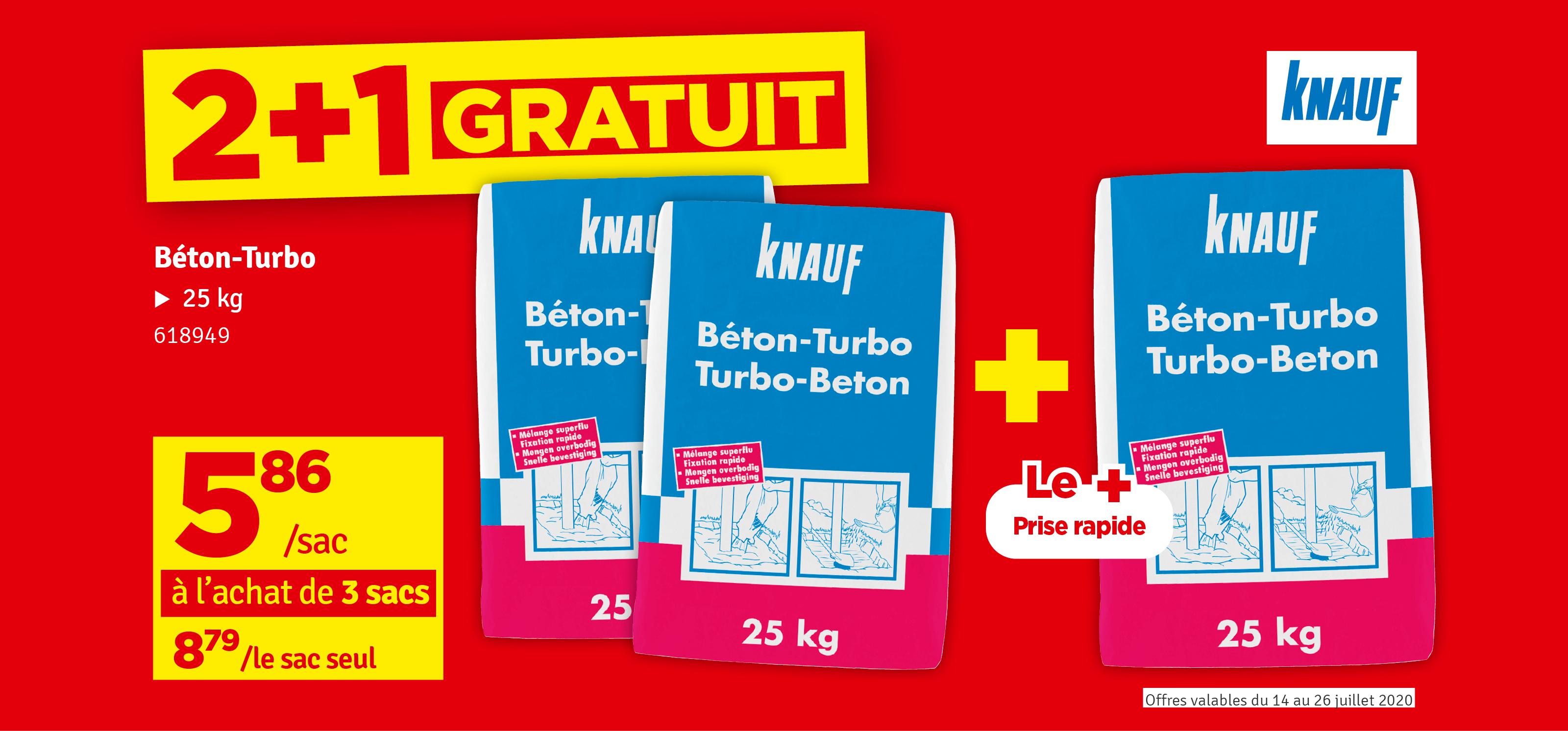 Promo - Béton à prise rapide prêt-à-l'emploi Turbo Béton de KNAUF 25 kg