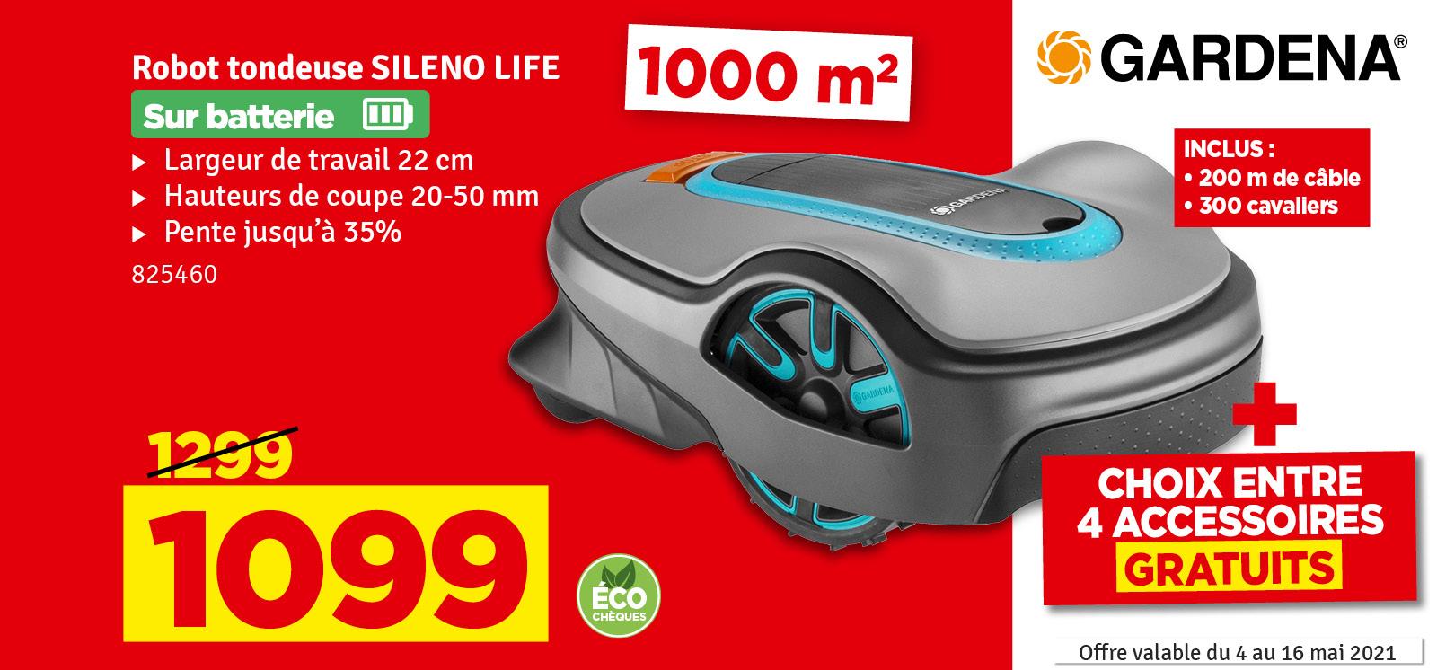 Promo - Tondeuse robot Sileno Life 1000 GARDENA