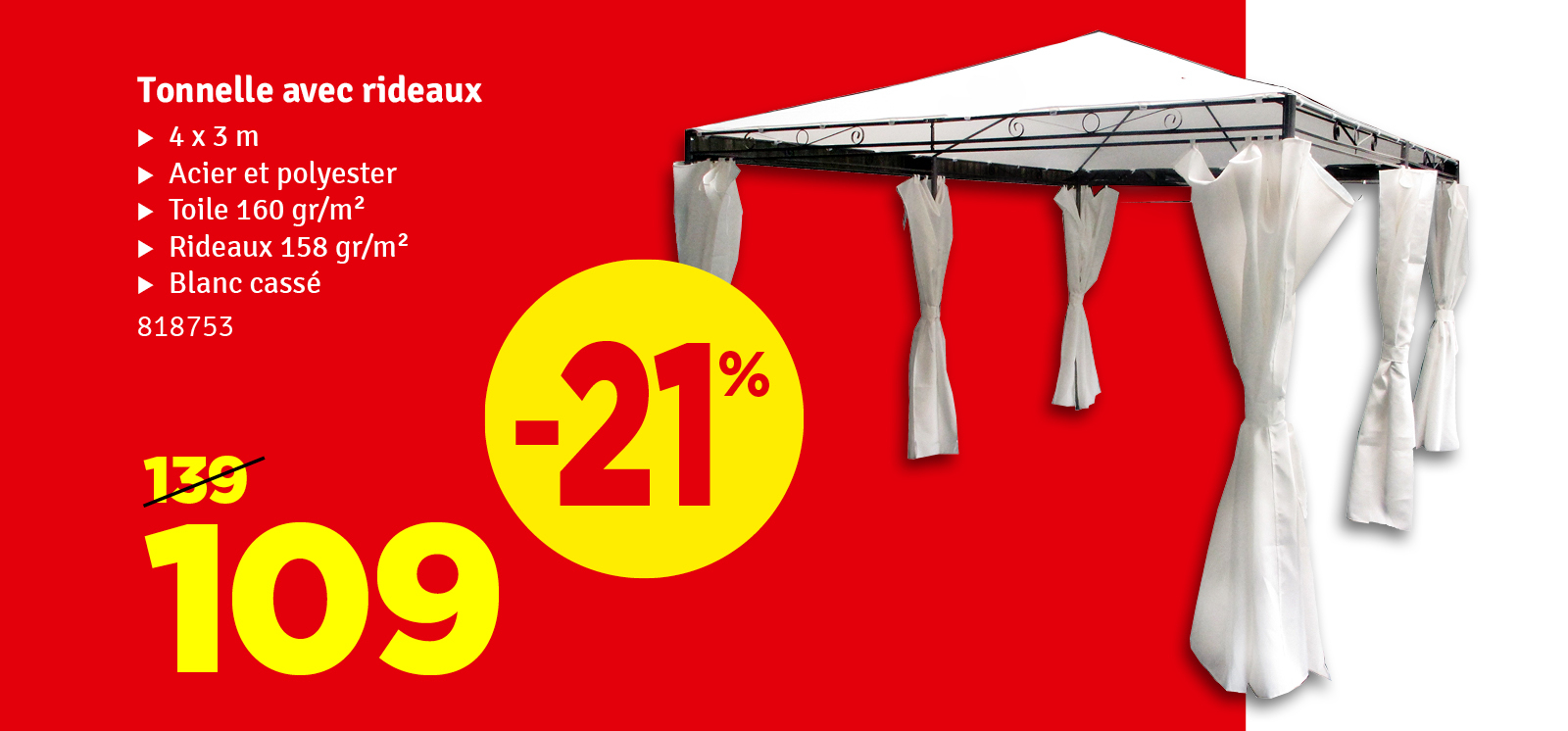 Promo - Tonnelle avec rideaux 4 x 3 m