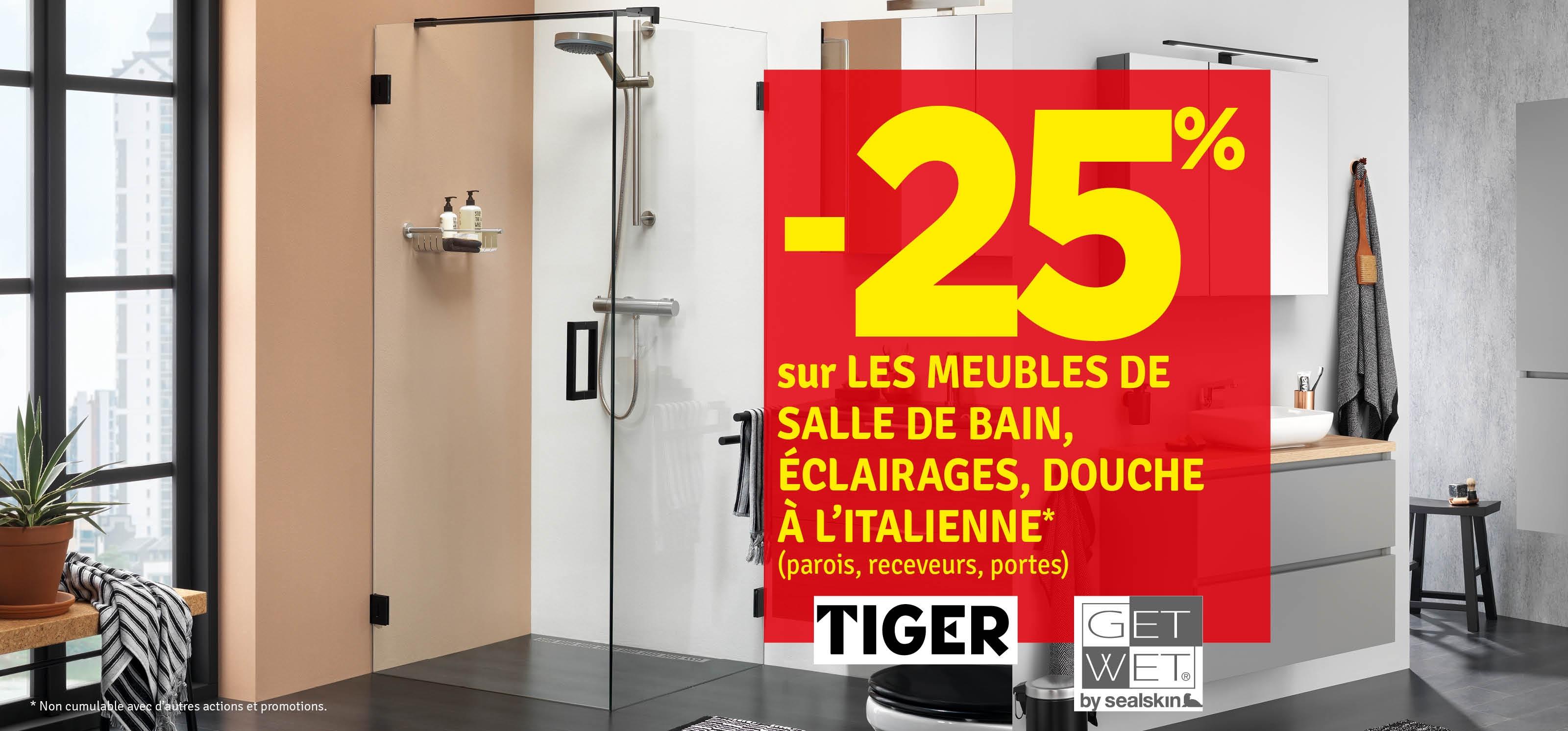 Promo - -25% sur les meubles de salle de bain Tiger