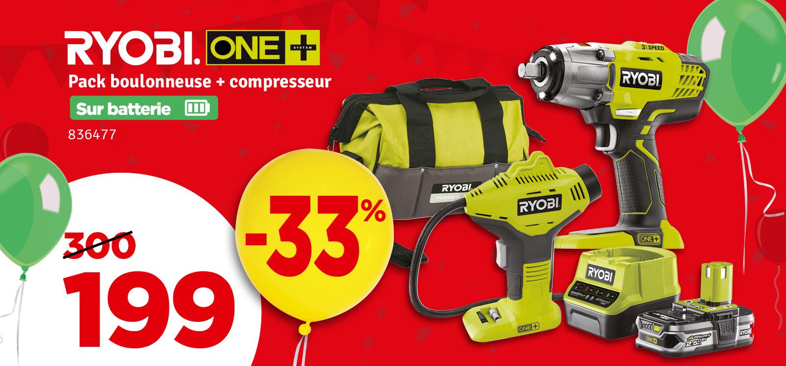 Promo - Pack boulonneuse + compresseur One+ Ryobi