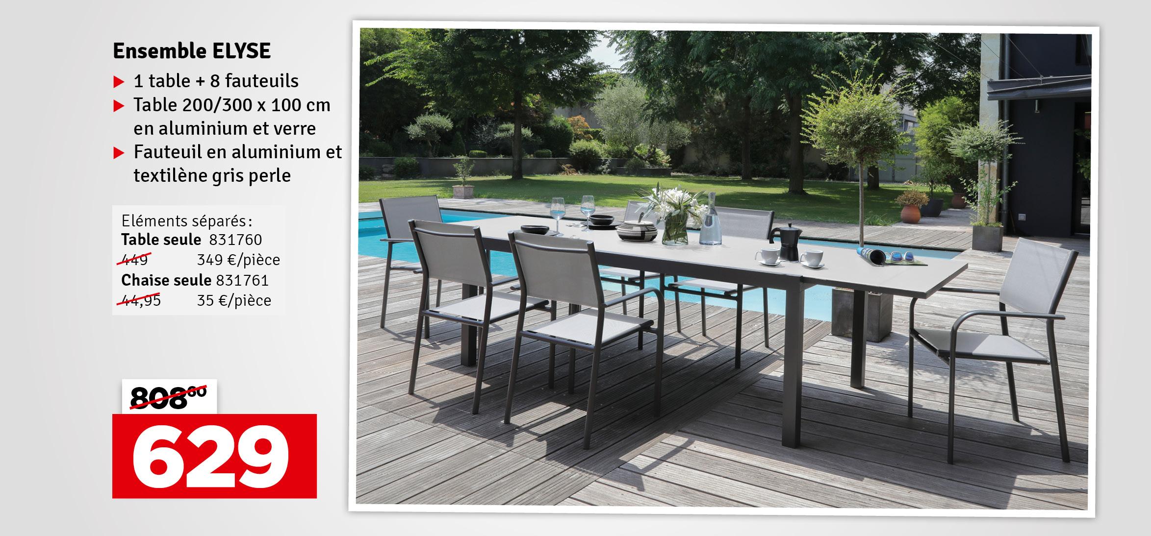 Promo - Table de jardin extensible graphite et perle Elyse 200-300 x 100 x 74 cm