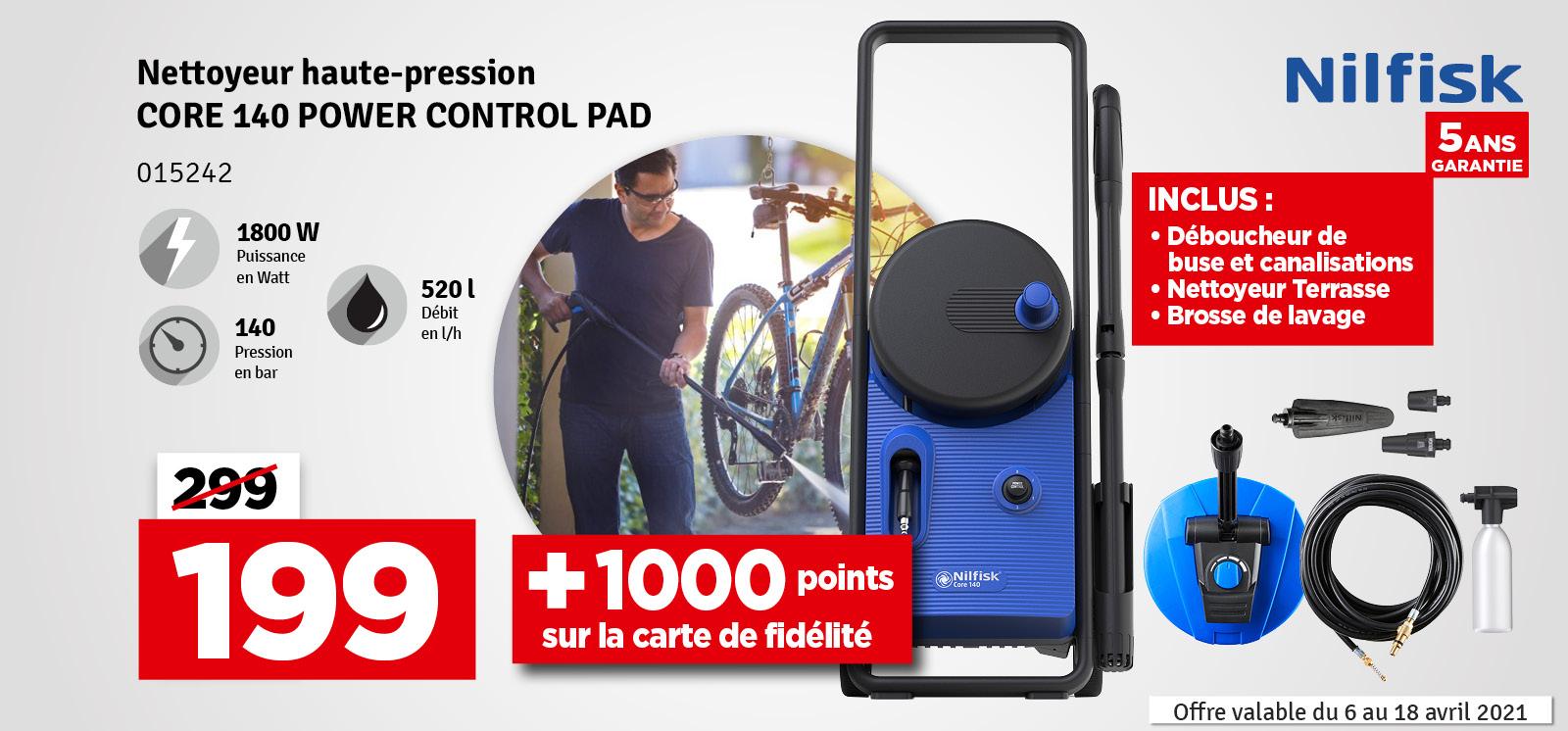 Promo - Nettoyeur haute pression Core 140 PowerControl Pad 140 bars NILFISK