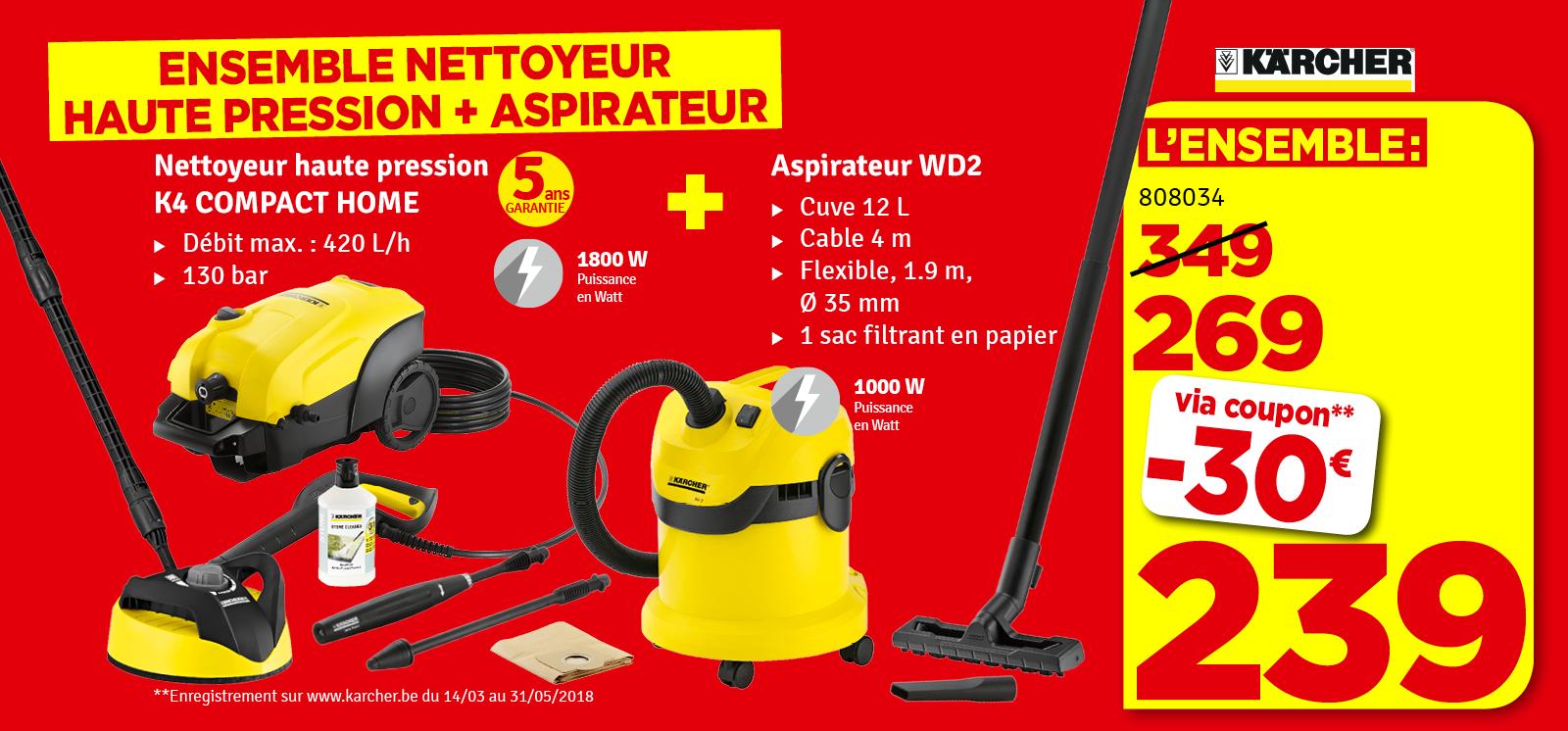 Promo - Nettoyeur haute pression K 4 Compact HOME WD 2 1800 W KÄRCHER