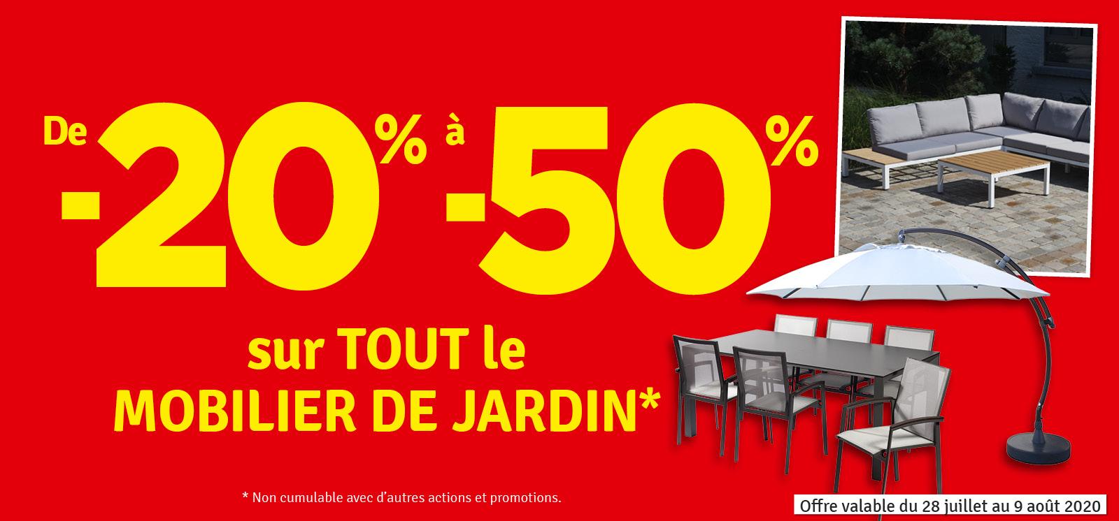 Promo - -20 à -50 % sur le Mobilier de jardin