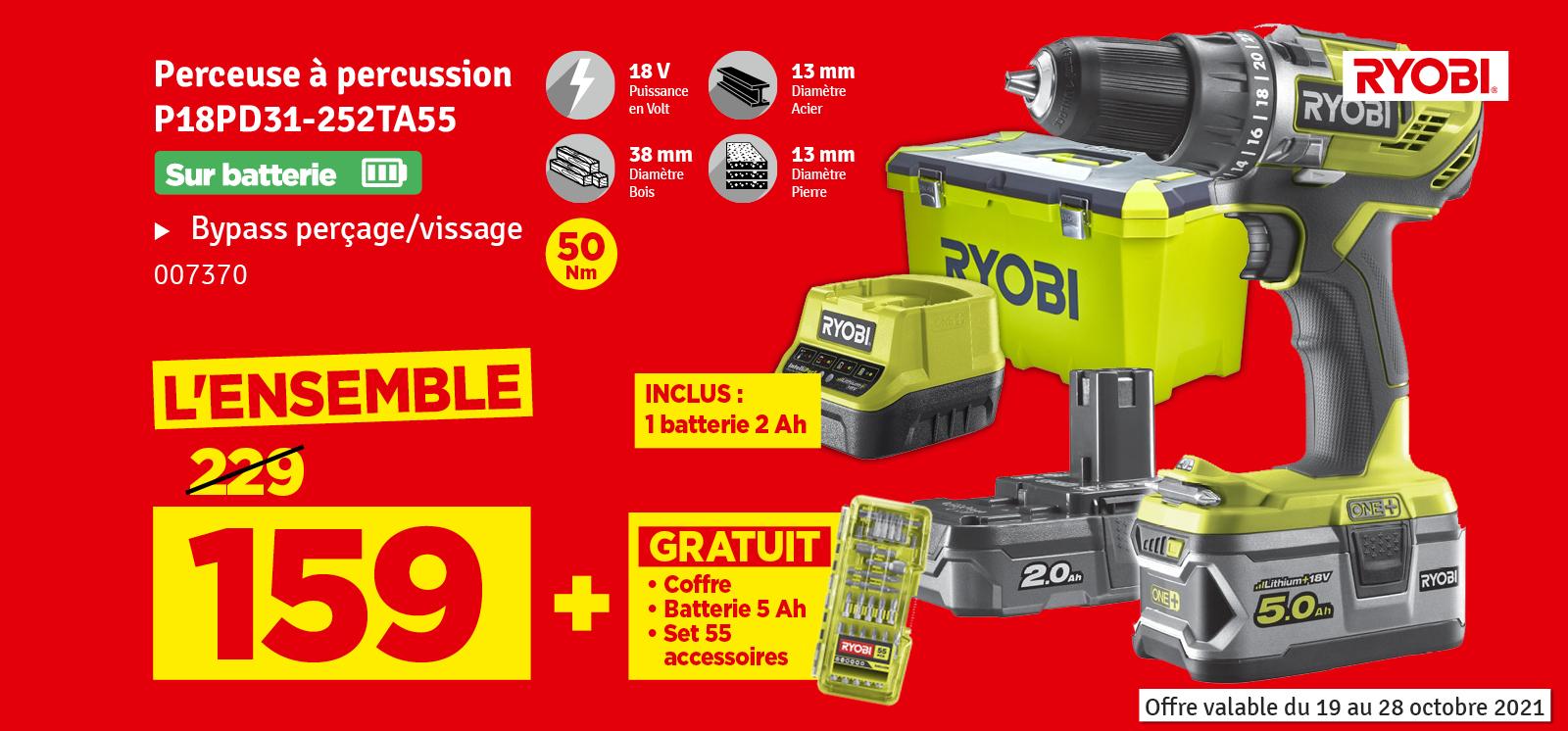 Promo - Perceuse à percussion sur batterie R18PD31-252TA55 18 V RYOBI