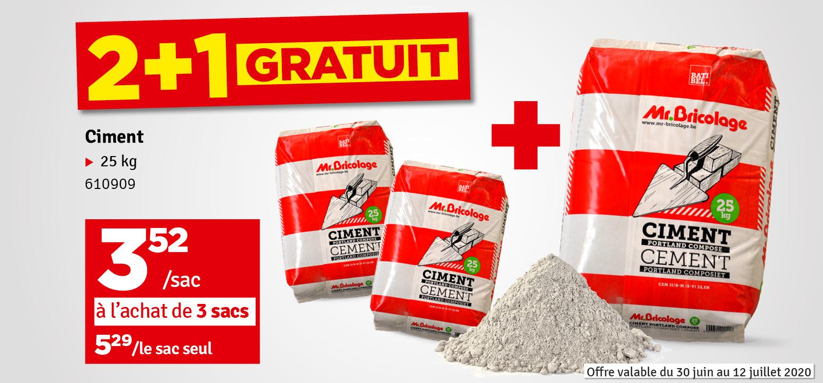 Promo - Ciment Mr.Bricolage multi-usages à durcissement rapide CEMII/B-M résistance 32,5 - 25kg