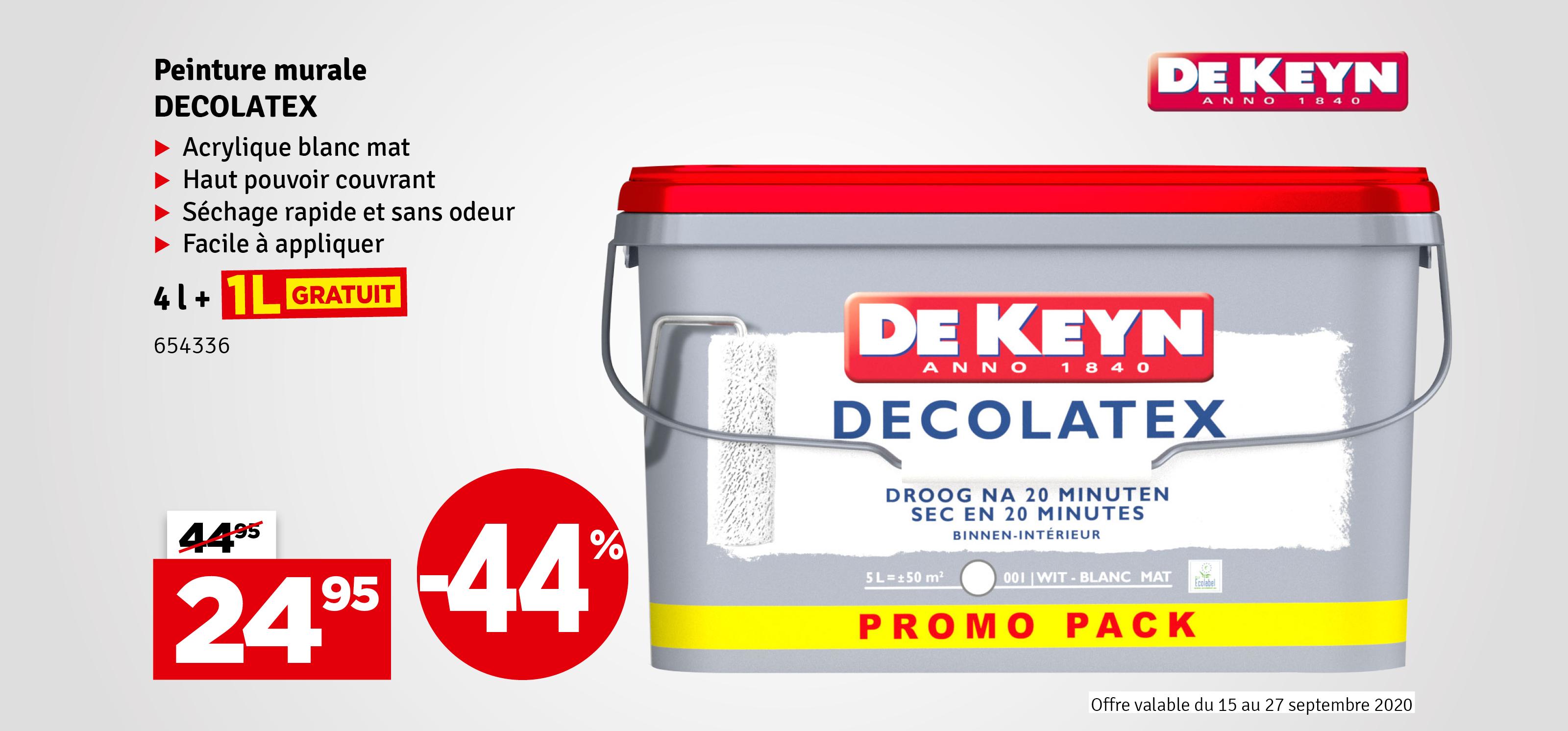 Promo - Peinture Décolatex blanc DE KEYN