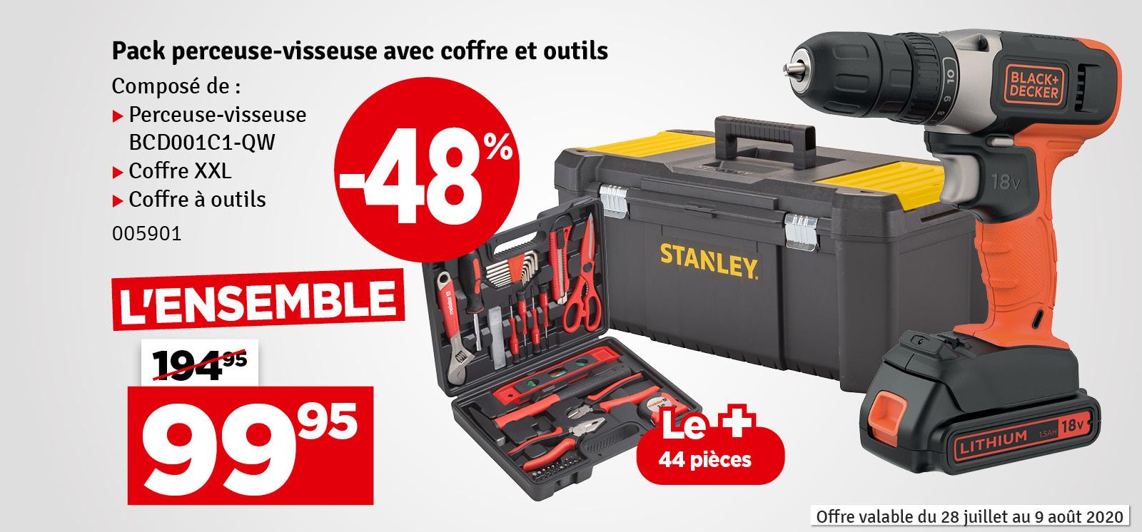 Promo - Pack perceuse-visseuse avec coffre et outils